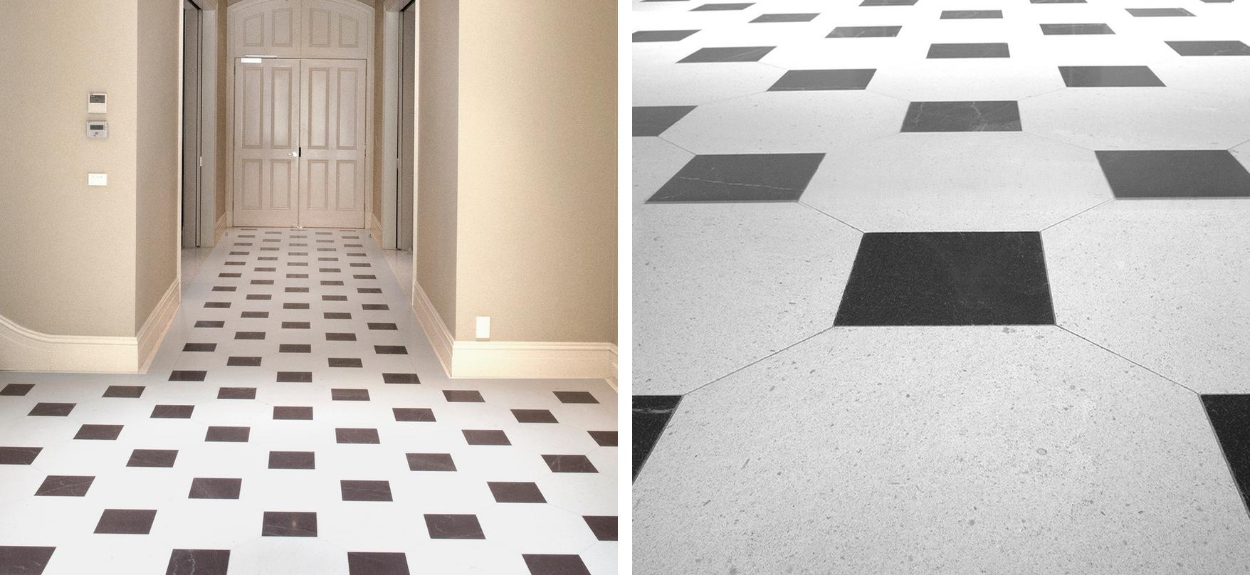 Left: exampleof cleaned limestone floor, Right: example of cleaned limestone tiles