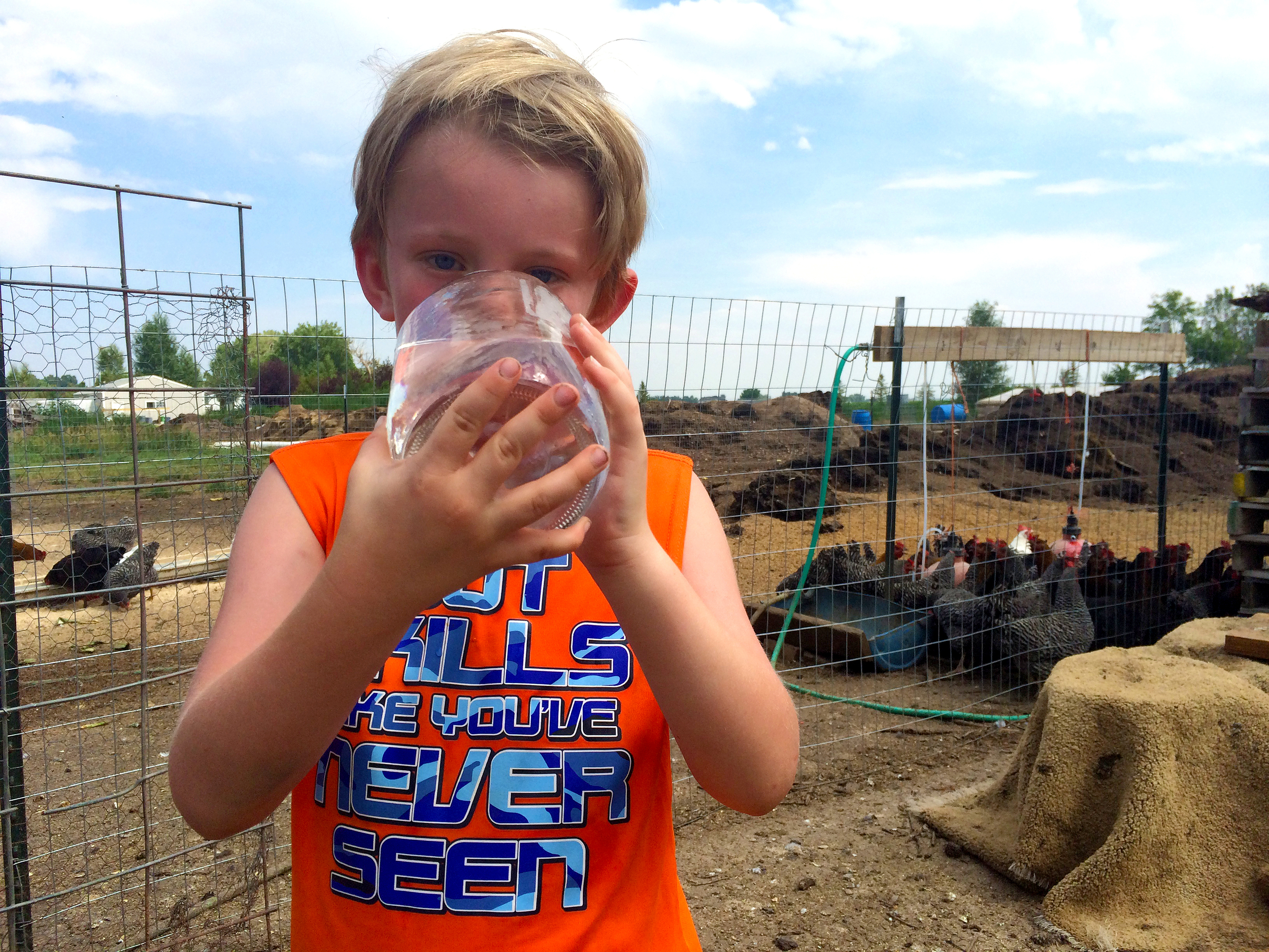 Little boys and chickens both need a ton of water. Who knew?