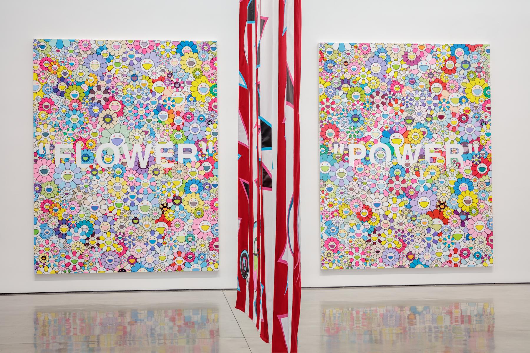 "TAKASHI MURAKAMI & VIRGIL ABLOH    ""AMERICA TOO"", Installation View , 2018  Artworks © Virgil Abloh and © Takashi Murakami  Photo: Joshua White – JWPictures.com  Courtesy Gagosian"