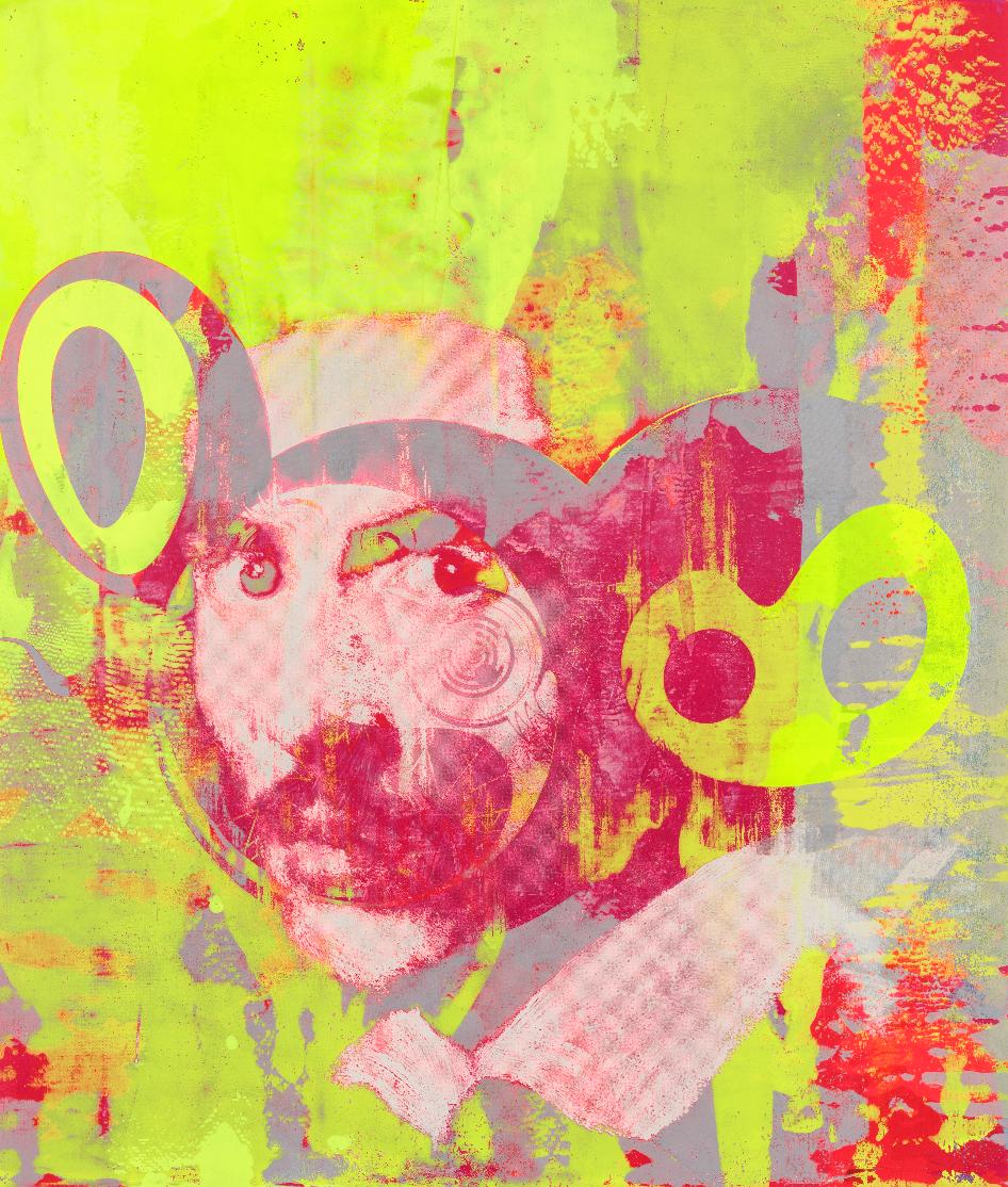 Yellow and Pink (2018) - TAKASHI MURAKAMI & VIRGIL ABLOHAcrylic on canvas mounted on aluminum frame55 3/4 × 47 3/8 inches141.6 × 120.3 cm©︎ Virgil Abloh and ©︎ Takashi MurakamiPhoto: Joshua White – JWPictures.comCourtesy Gagosian