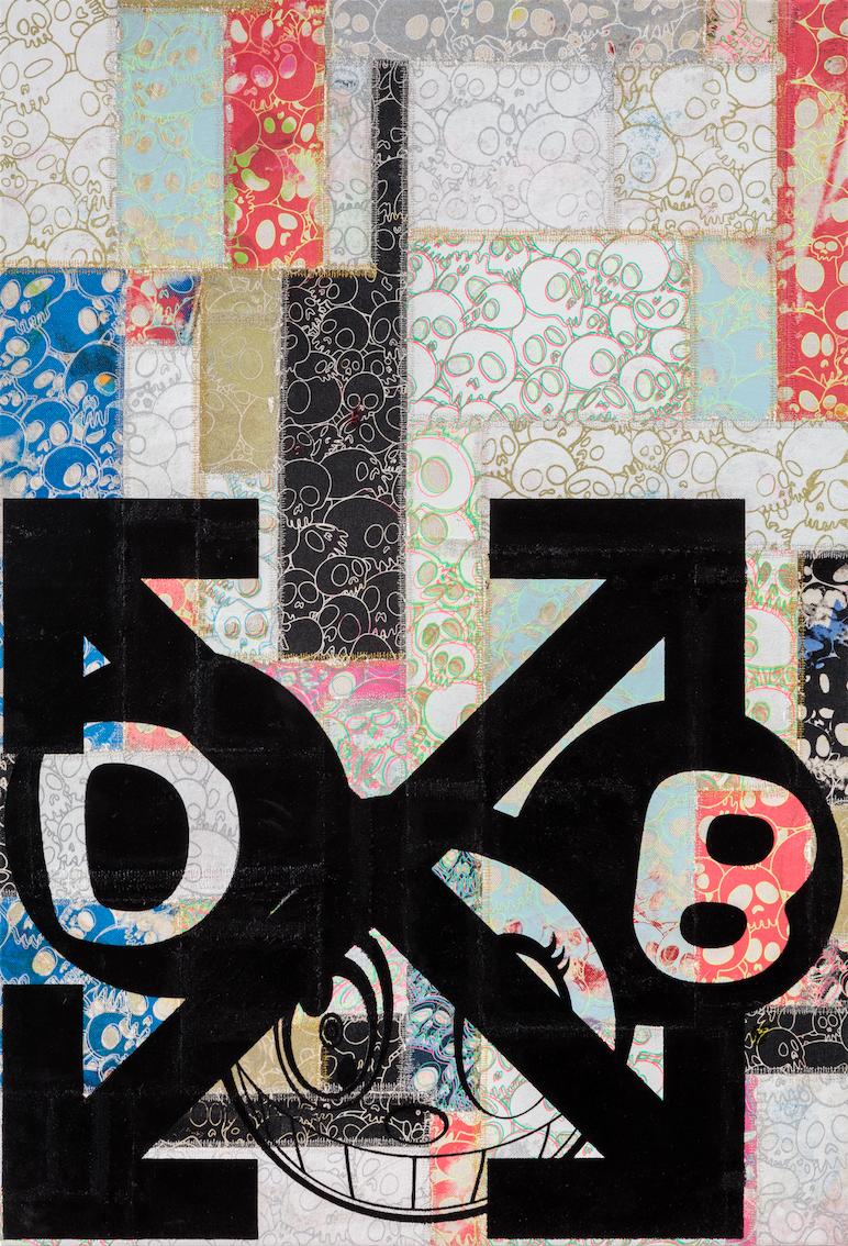 DOB and Arrows:Patchwork Skulls, (2018) - TAKASHI MURAKAMI & VIRGIL ABLOHAcrylic on canvas mounted on aluminum frame34 × 23 inches86.4 × 58.4 cm©︎ Virgil Abloh and ©︎ Takashi MurakamiPhoto: Joshua White – JWPictures.comCourtesy Gagosian
