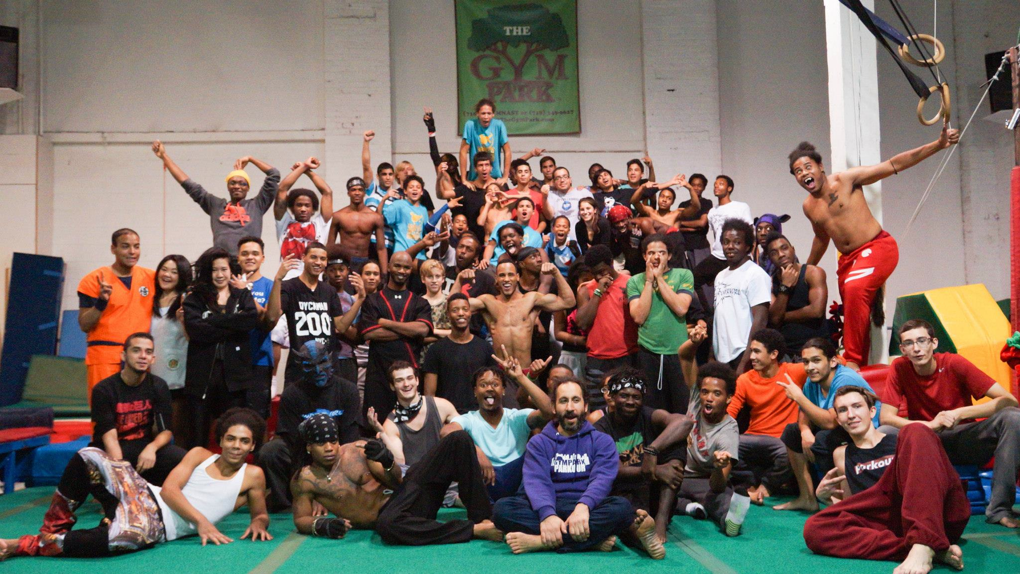 Group photo of Gym Jam participants at the Gym Park.