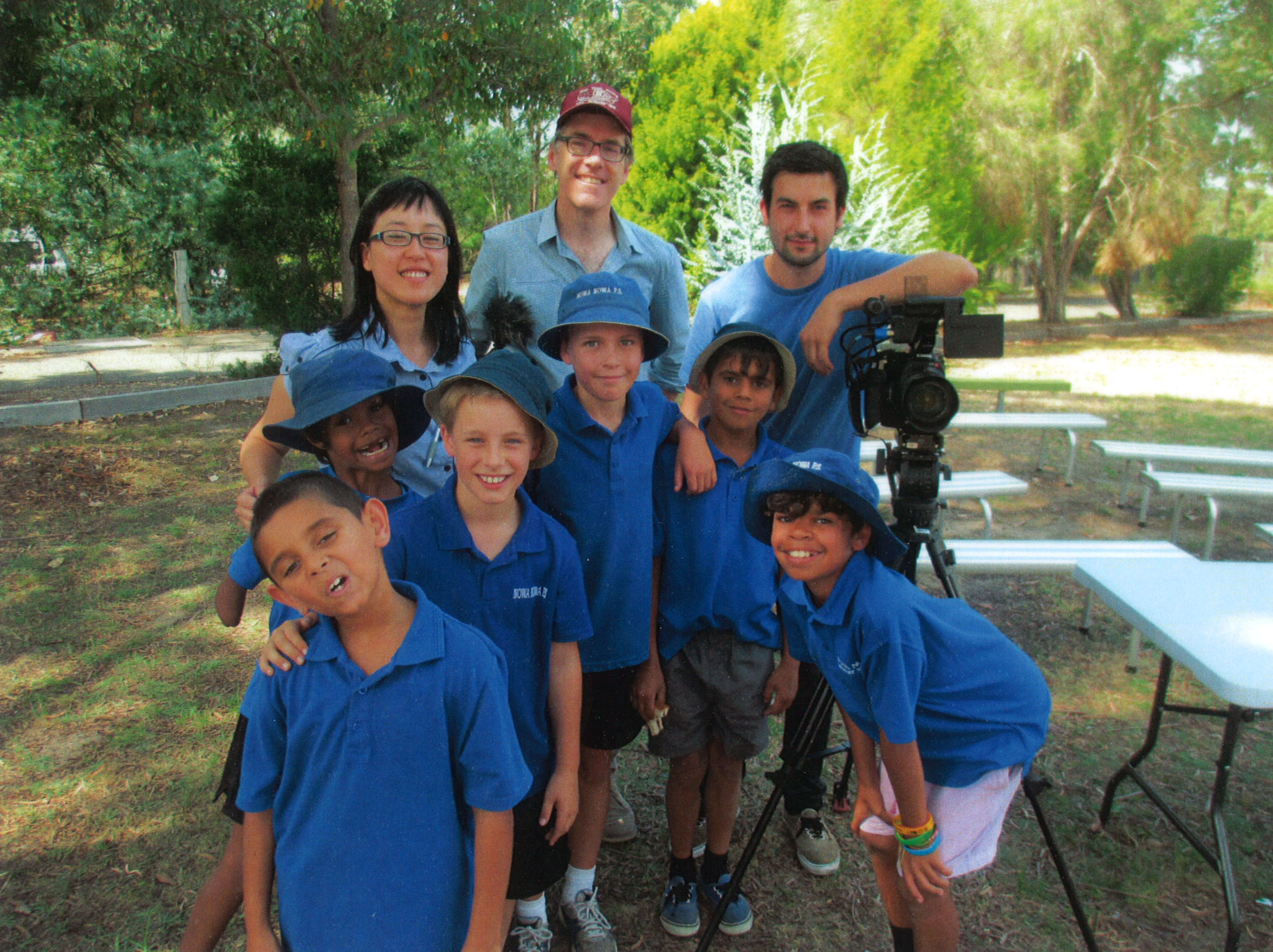 The Dream Team; our delightful client Joy from ESA, me sans beard and RainerKelly with the kids from Nowa Nowa PS.