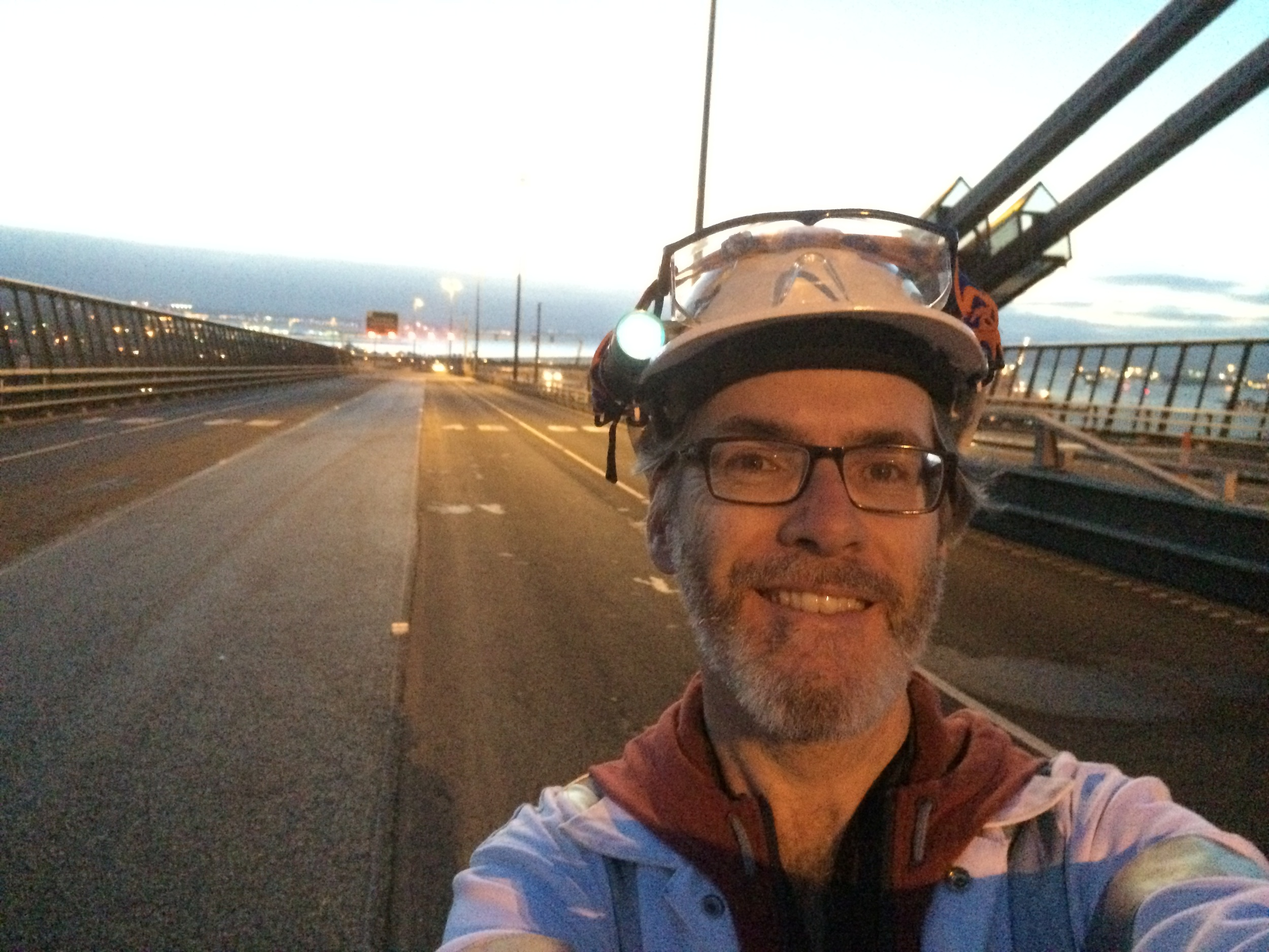 Dawn after a long night shoot - time for a quick selfie on the bridge before heading home.