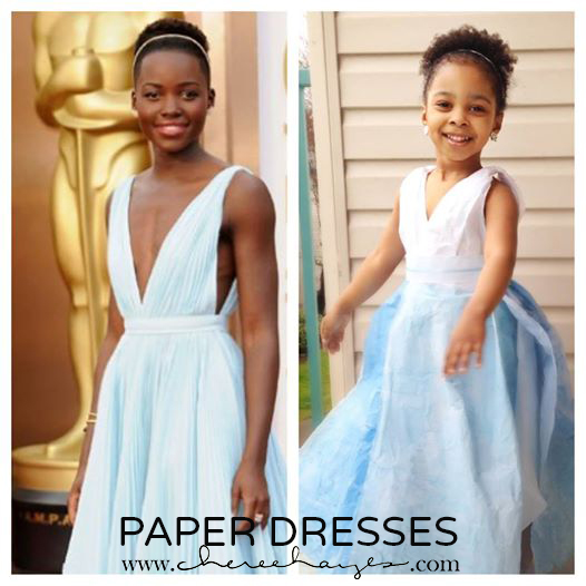 Left:  Lupita Nyong'o at the Oscars,   Photo: Rex  /  Right: Daughter in Paper Replica #inspiredbymayhem