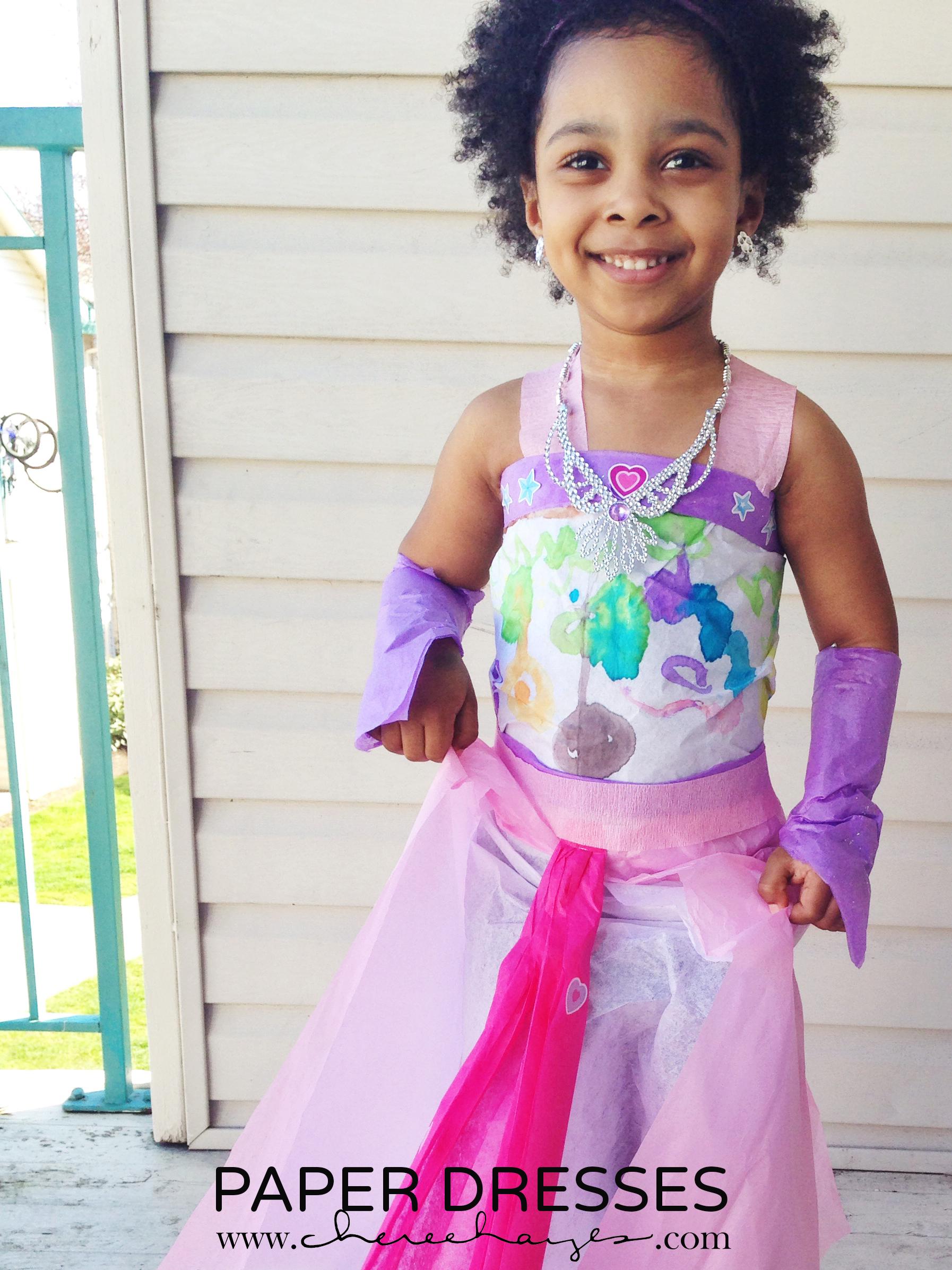 Daughter in paper birthday dress #inspiredbymayhem