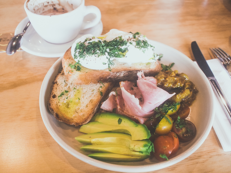 Eggs on Toast -  with Wild Loaf organic ciabatta, Pickled Eggplant relish, avocado, and Newbury & Watson ham
