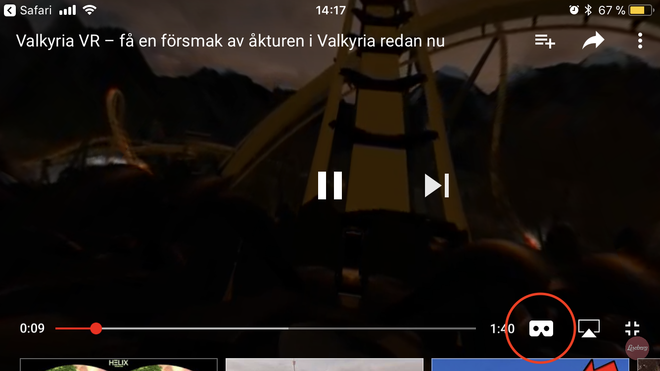 Press on the Google Cardboard icon on YouTube to experience the Valkyria ride in 3D.  iPhone users need to install and launch the YouTube app!