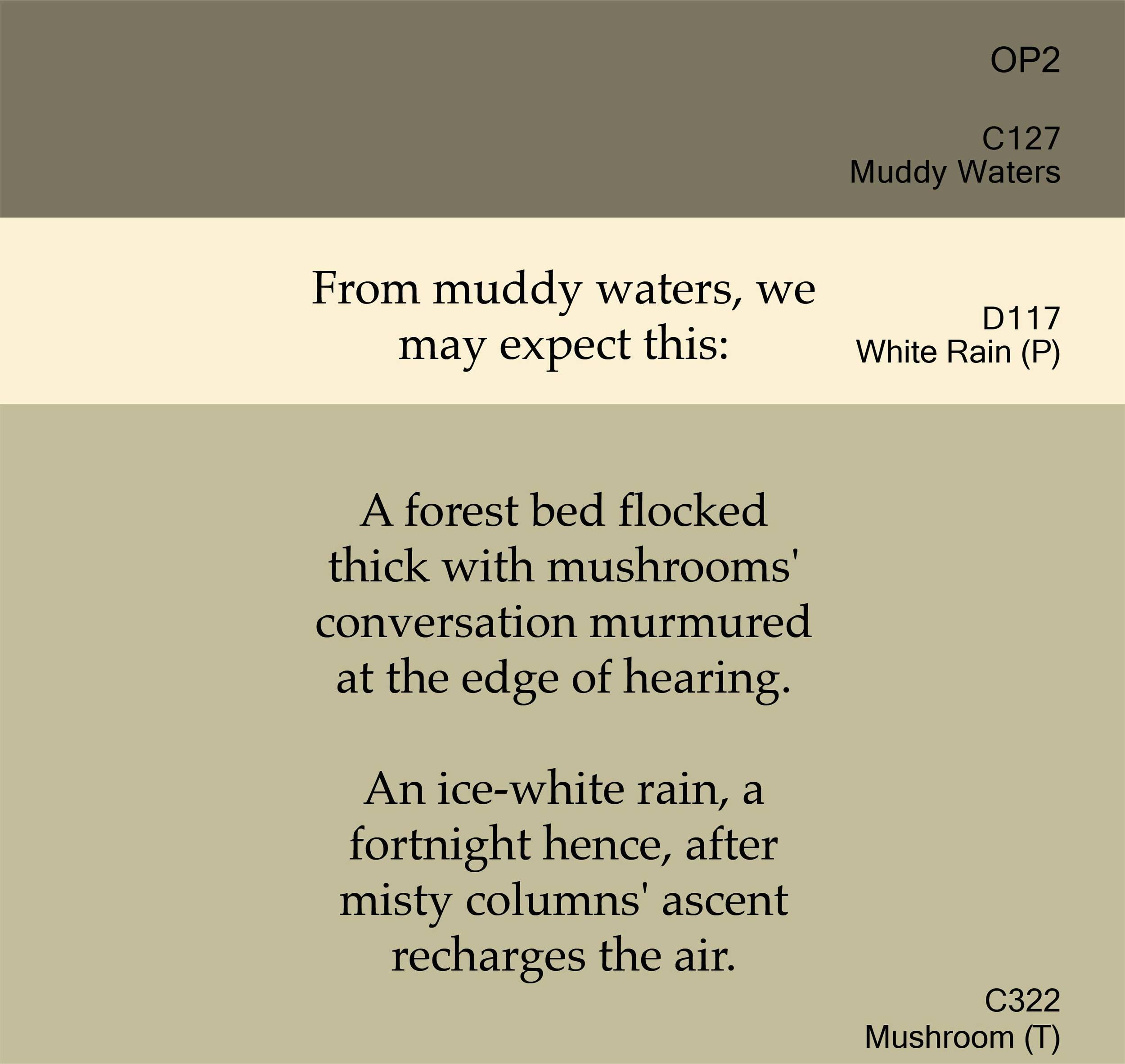 Muddy Water, White Rain, Mushroom I