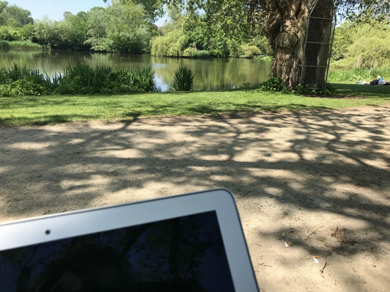 Schaffen im Park
