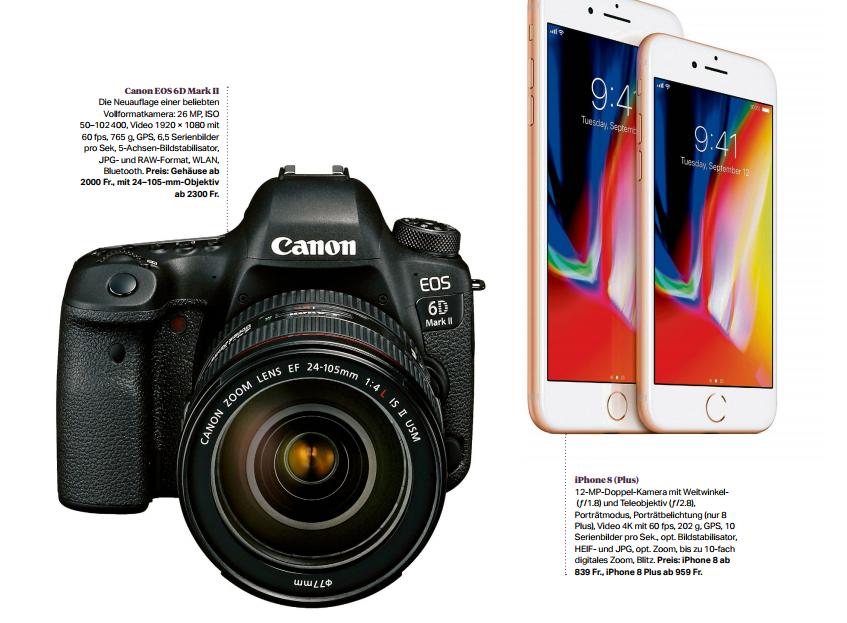 Spieglein, Spieglein in der Hand...  Ist das iPhone 8 Plus die bessere Spiegelreflexkamera? Unser Test zwischen dem jüngsten Apple-Smartphone und der Canon EOS 6D Mark II    Sonntagszeitung, 5.11.2017