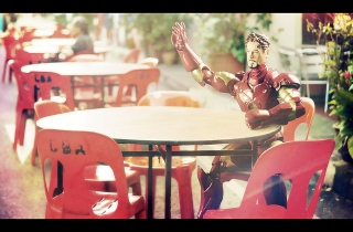 """""""The greater good would be another round of martinis for the table!""""  """"Mr. Stark, it's just you here."""""""