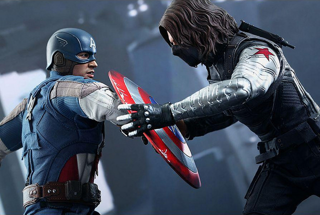 WInter Soldier: I just want to give you a hug, Steve. I wish I knew how to quit you!!!! Cap: Bucky...seriously, you have to let go of my shield. Plus, I was frozen and don't get that reference.