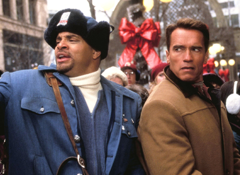 Sinbad: I'm so excited to be working with an action hero! Arnold: Sinbad, you need to watch where you put your hands