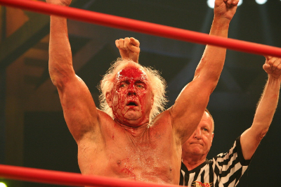 The game was true to real life: it didn't take much to get Ric Flair to bleed EVERYWHERE