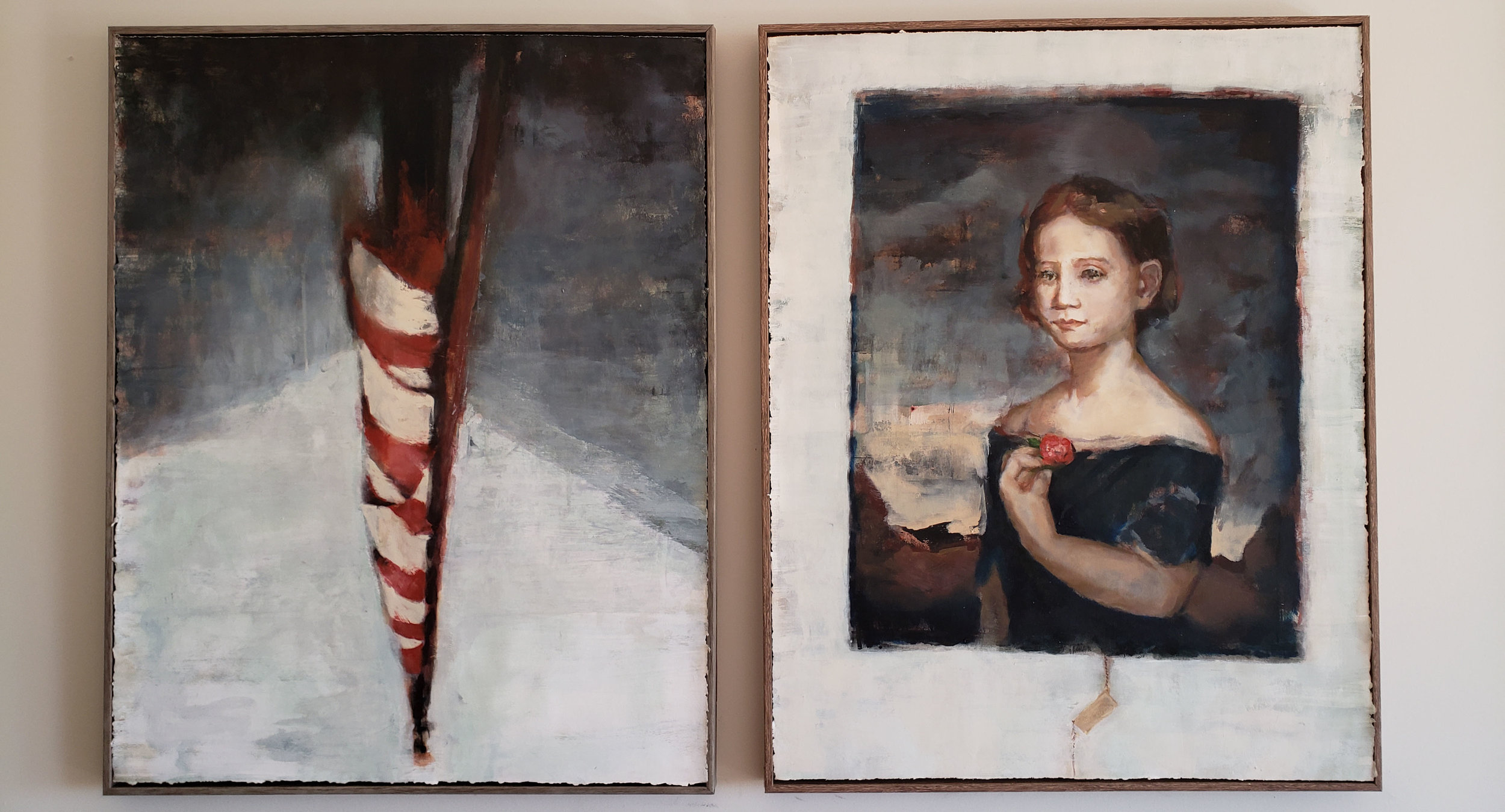 """Lee Mansion Through Artists' Eyes,"" on view at the Marblehead Museum through August 4th, 2018. Inspired by Lydia, a child painted post-mortem in the nursery of the mansion and in relation to what is happening today at the US/Mexican border."