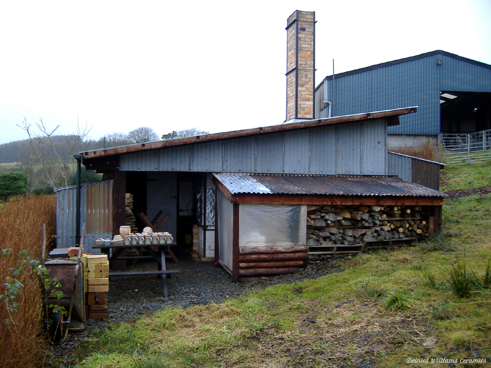 The shed that houses the wood-firing kiln in Wales.