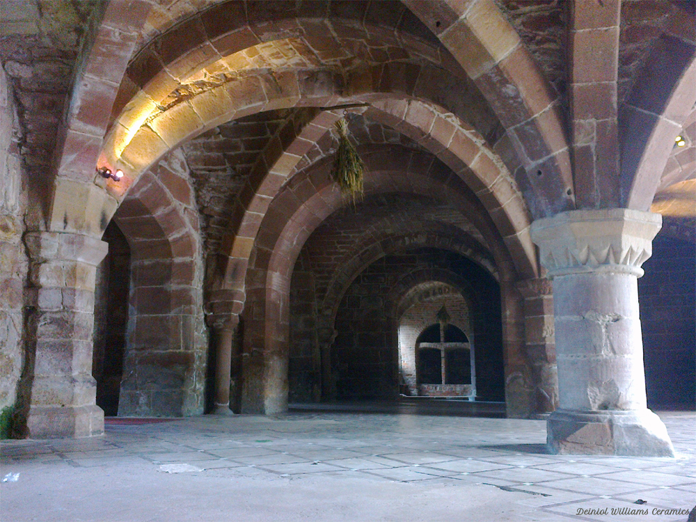 The 12C rib vaulted ceiling of the Undercroft at Norton Priory near Runcorn, Cheshire