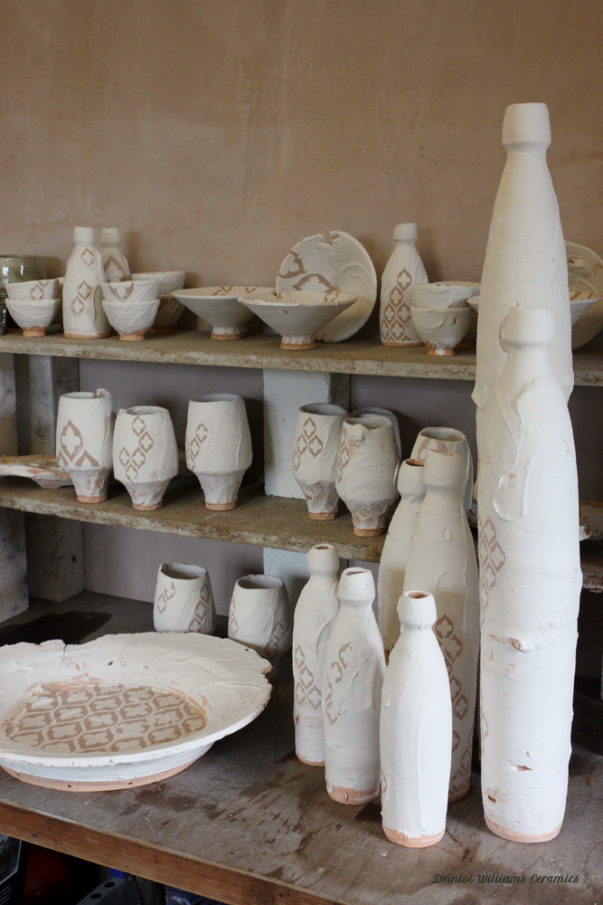 Bisque fired pots waiting to be glazed
