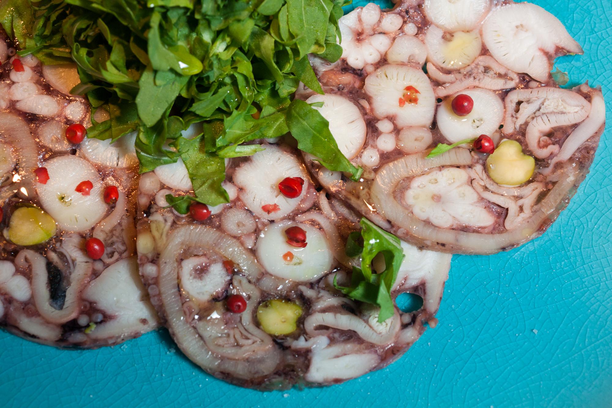 Octopus and pistacchio soppressata antipasti
