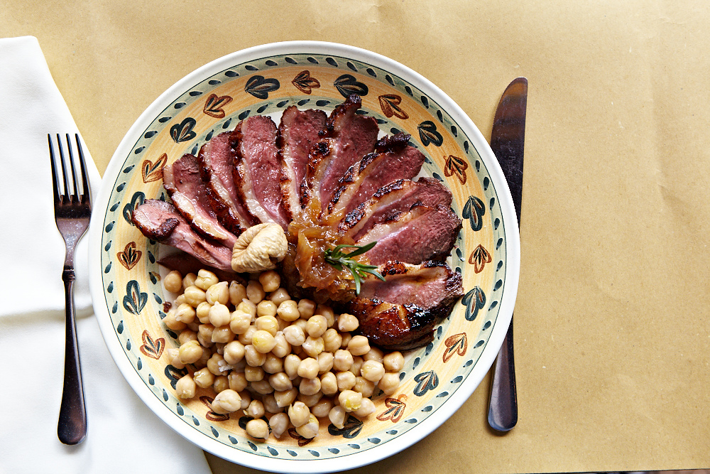Grilled duck breast with chick peas