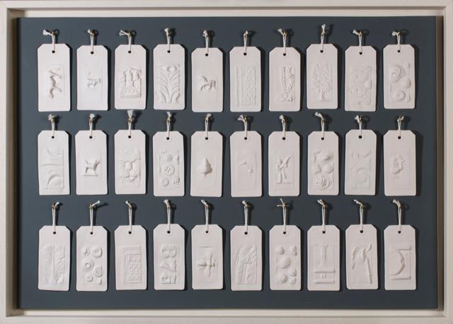 'Archive labels: Sherborne House' Porcelain casts (from moulds taken in endangered Dorset buildings.) Similar work £350-800