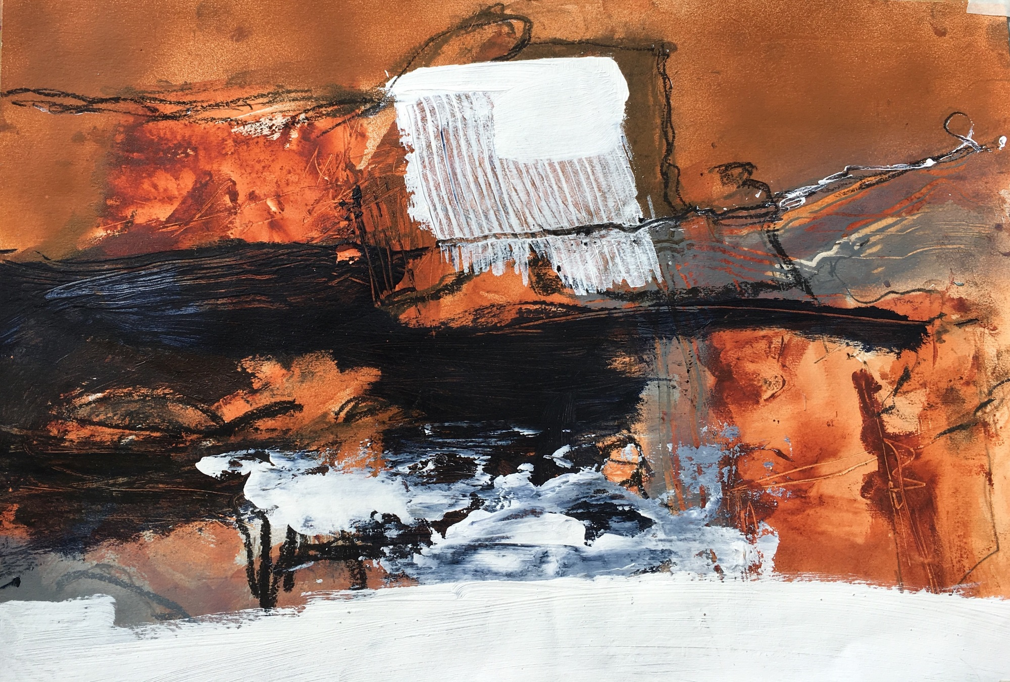 Past Workings Botallack, mixed media on paper, 50 x 65cm