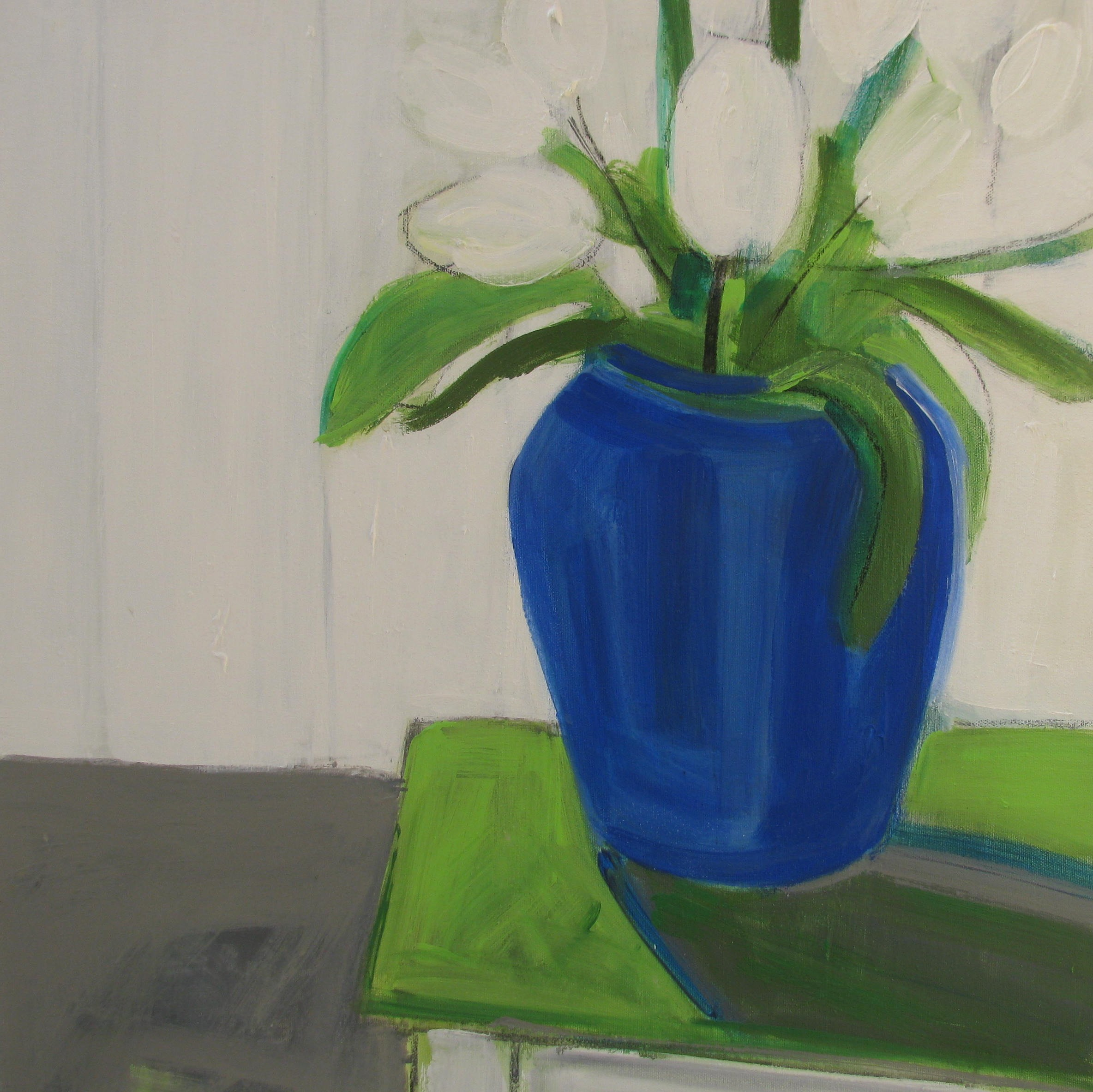 BLUE AND GREEN ON WHITE acrylic on canvas 50.5x55.5cms.JPG