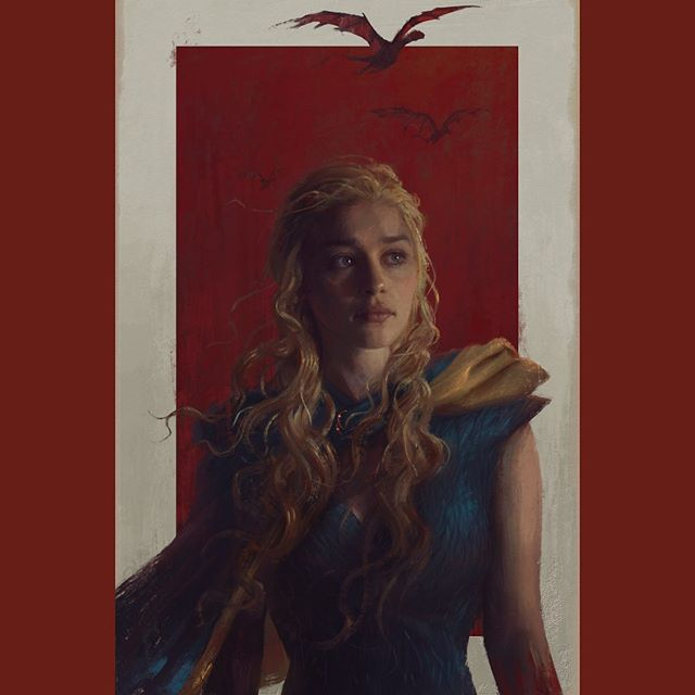 "An old painting I did of Daenerys back in the pre-""let's commit literally all the war crimes"" days 🐲 #GameOfThronesFinale"
