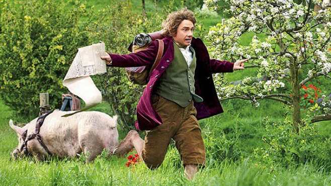 Bilbo   : Can't stop, I'm already late.  Hobbit : Late for what?  Bilbo : I'm going on an adventure!