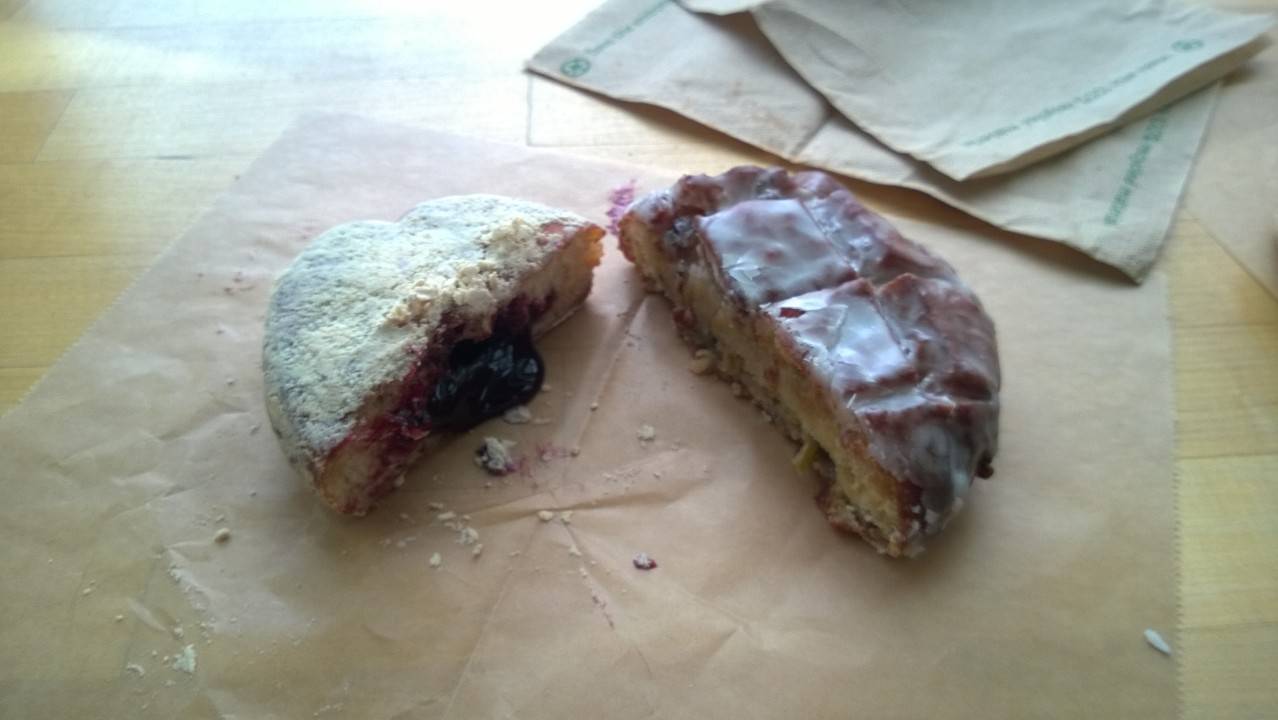 Blue Star's blackberry compote with peanut butter powder donut & apple cider donut