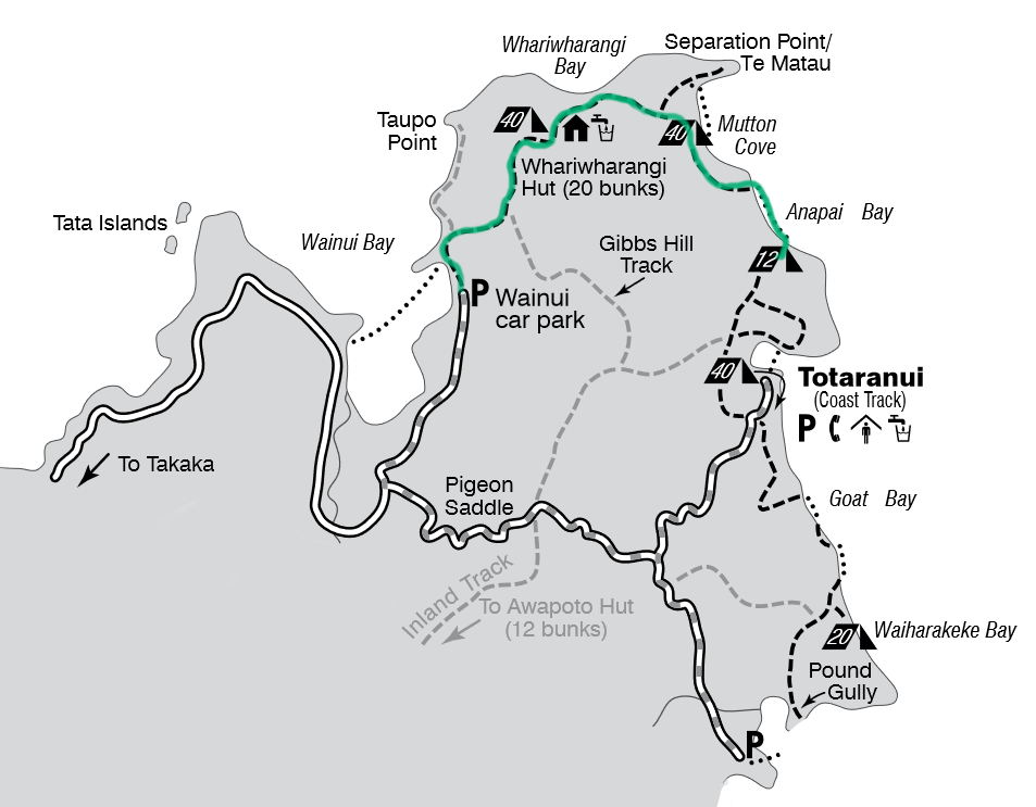 The green line marks the path we followed (original image from DOC brochure)