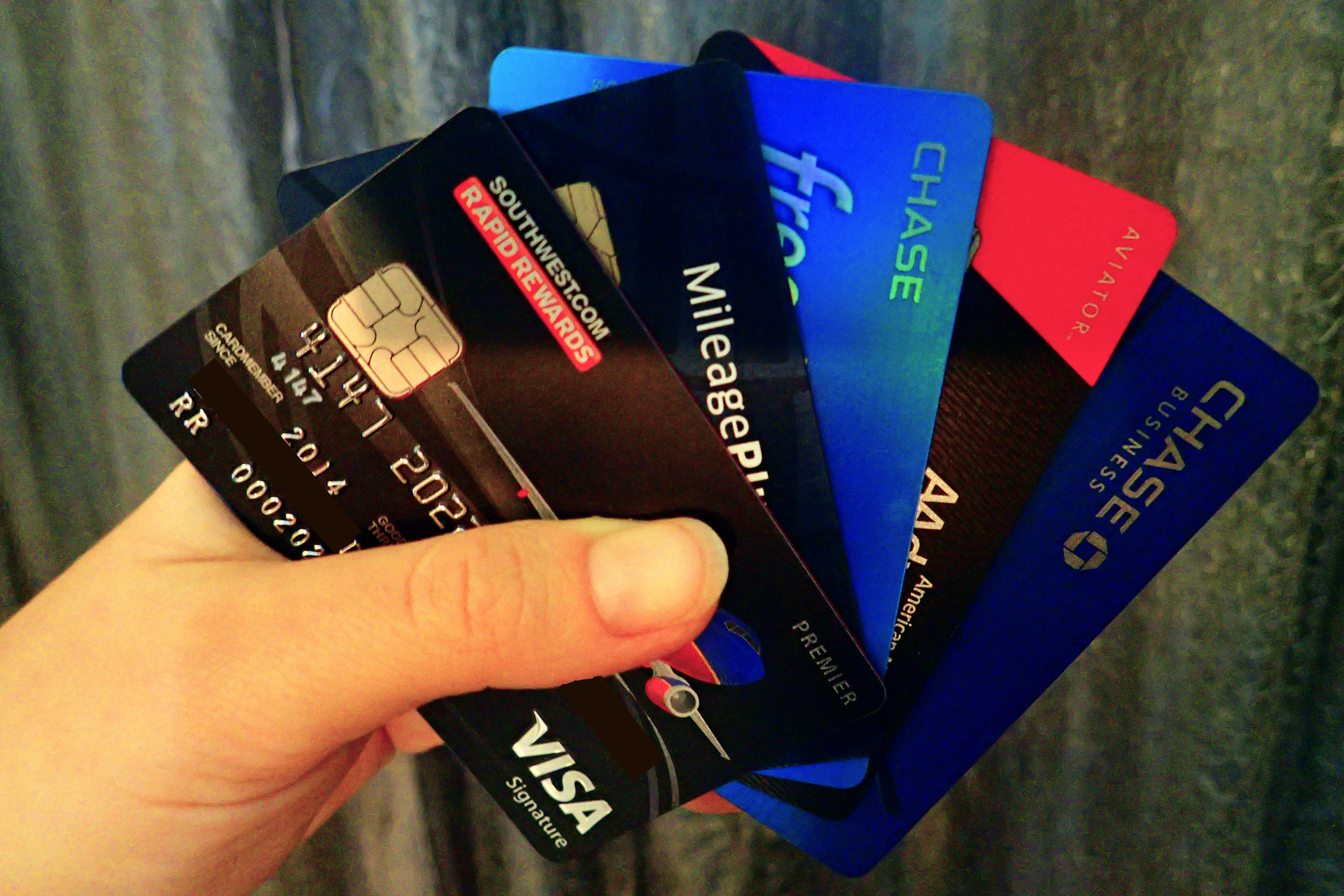 Some of the miles-earning credit cards I've had in my wallet