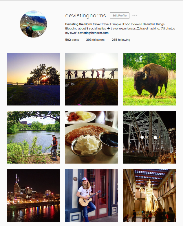 A snapshot of  my Instagram page