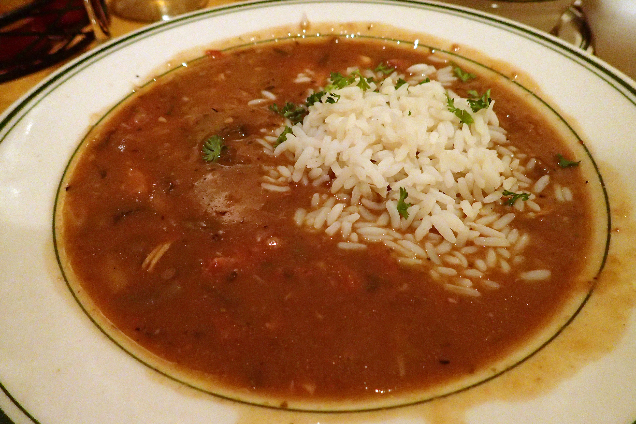 Chicken andouille gumbo at the Gumbo Shop