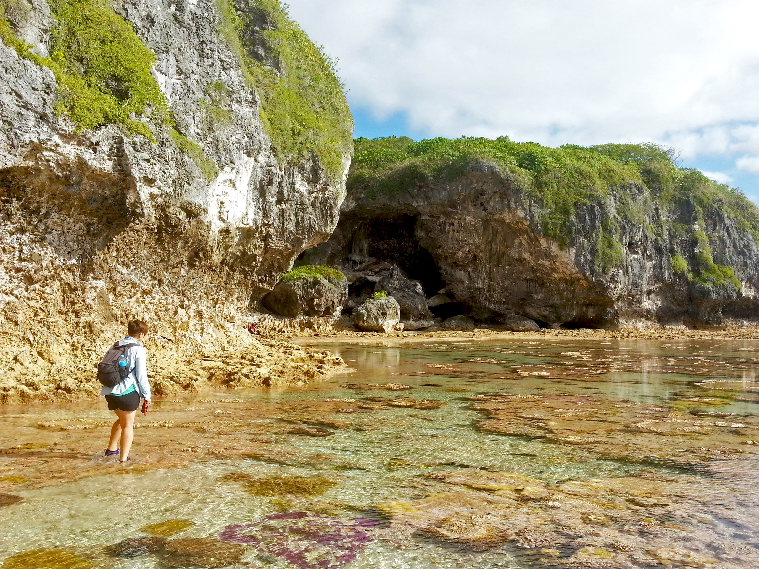 Exploring the reef flats in  Niue