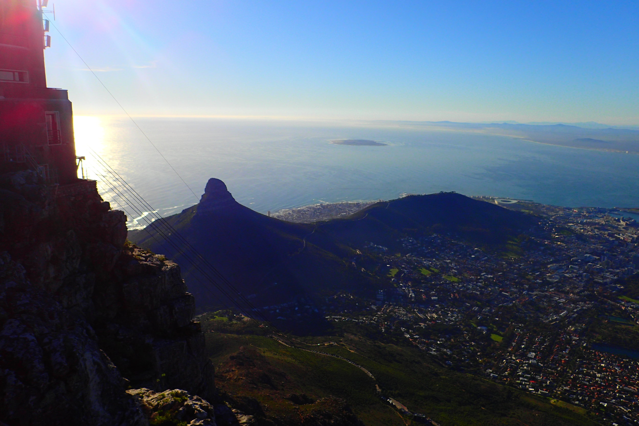 View of Lion's Head (left) and Signal Hill (right) from Table Mountain