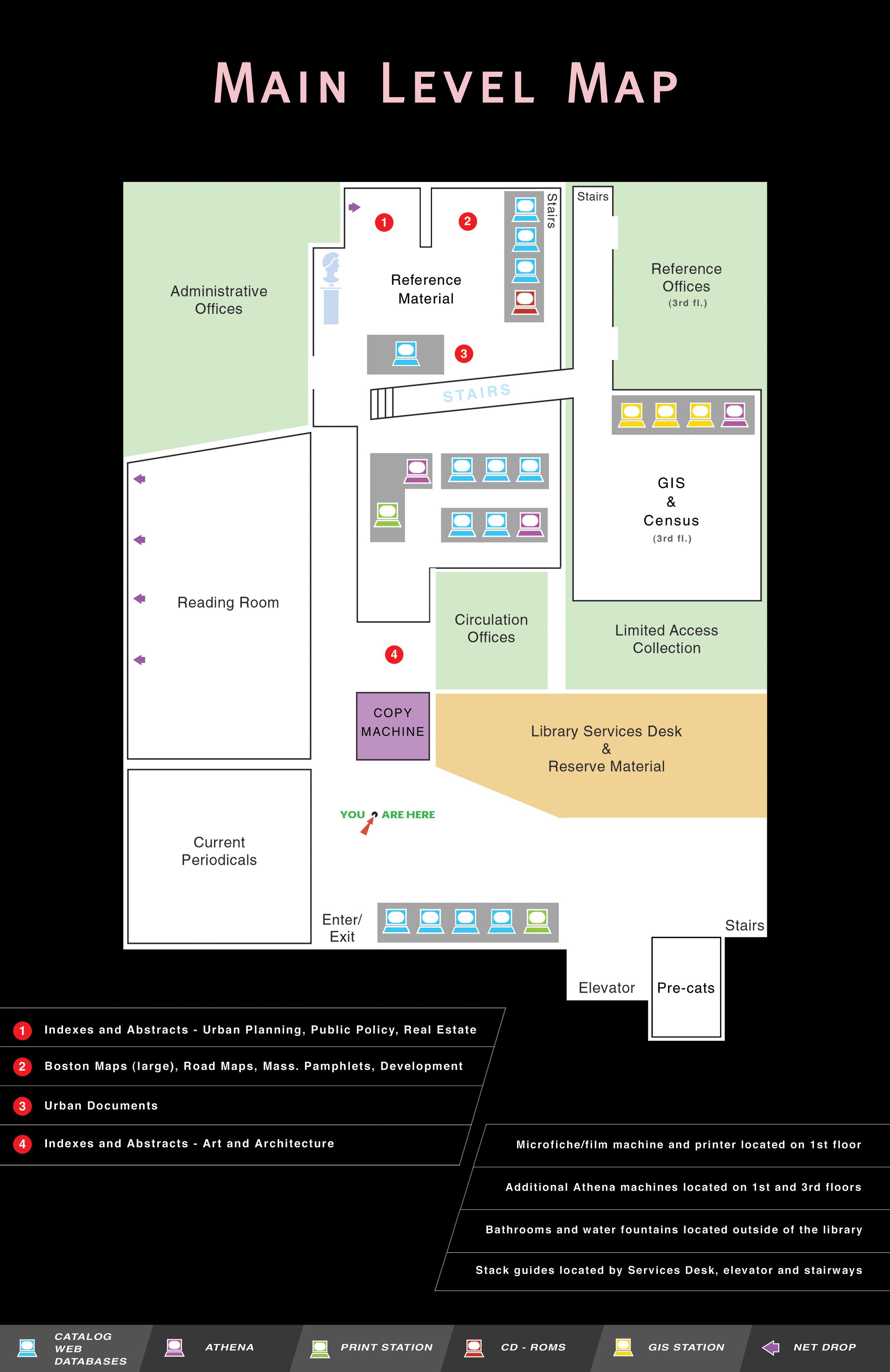 Rotch Library Main Floor Map   Tools Used :   Adobe Illustrator