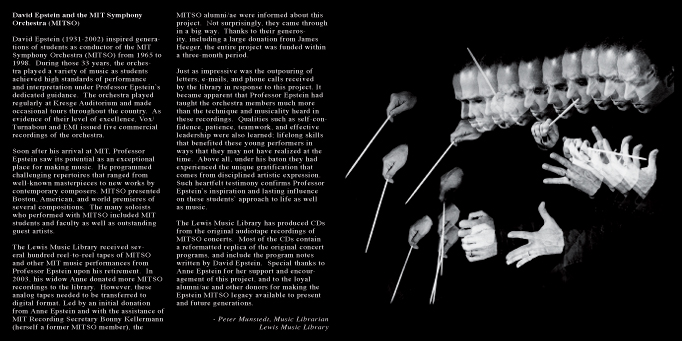 """Three Decades of David Epstein""   Inside liner notes"