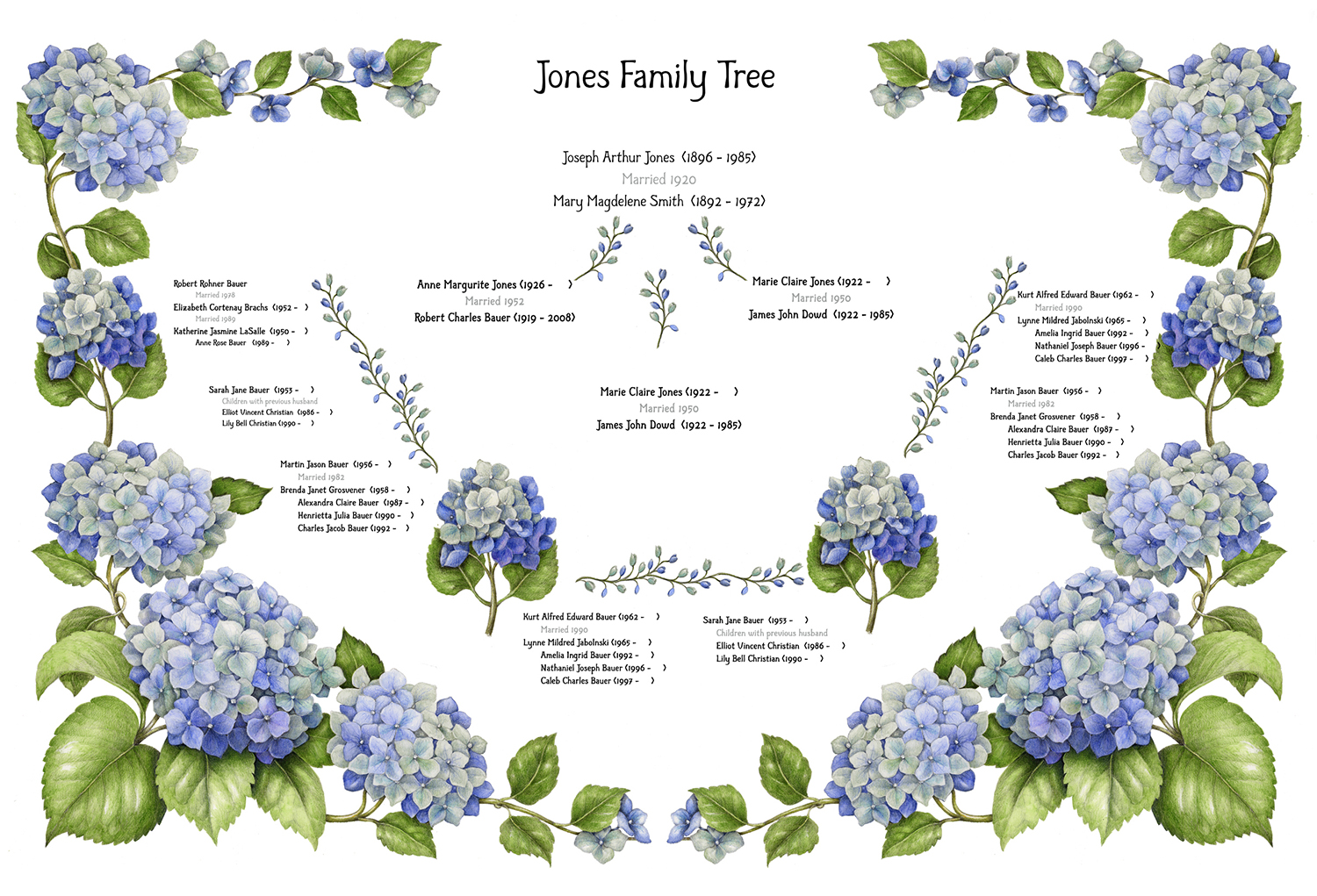 "Illustrations commissioned for  Arbor Arts , ""creating fine art family trees customized with your family history. Your family history combined with a beautiful design and created with the finest materials results in your very own personalized work of art."""