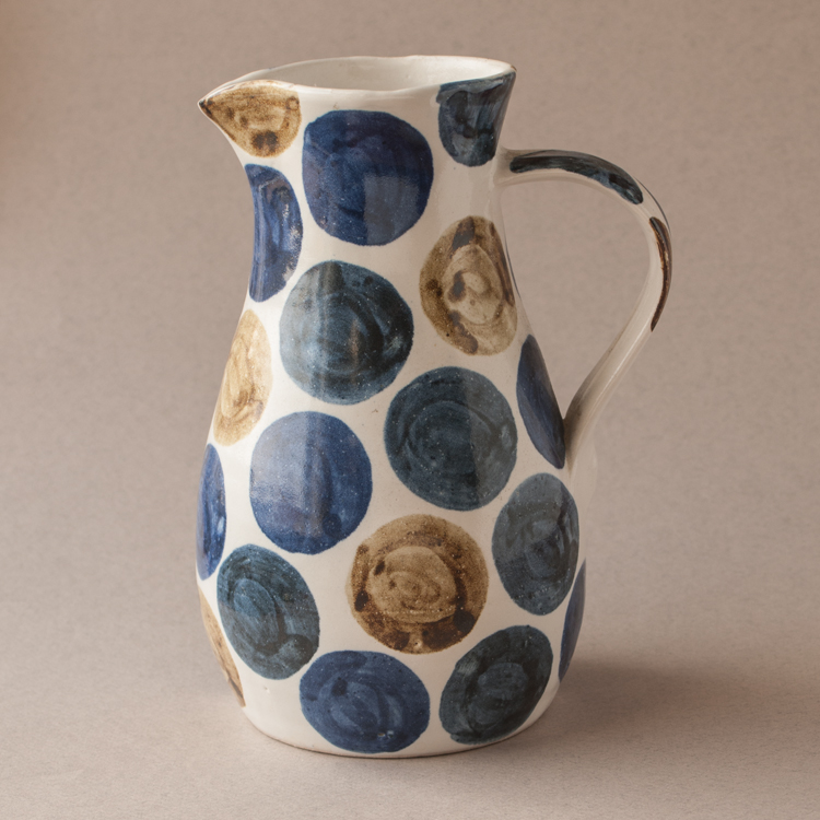Topsy Jewell white ceramic job with blue circles