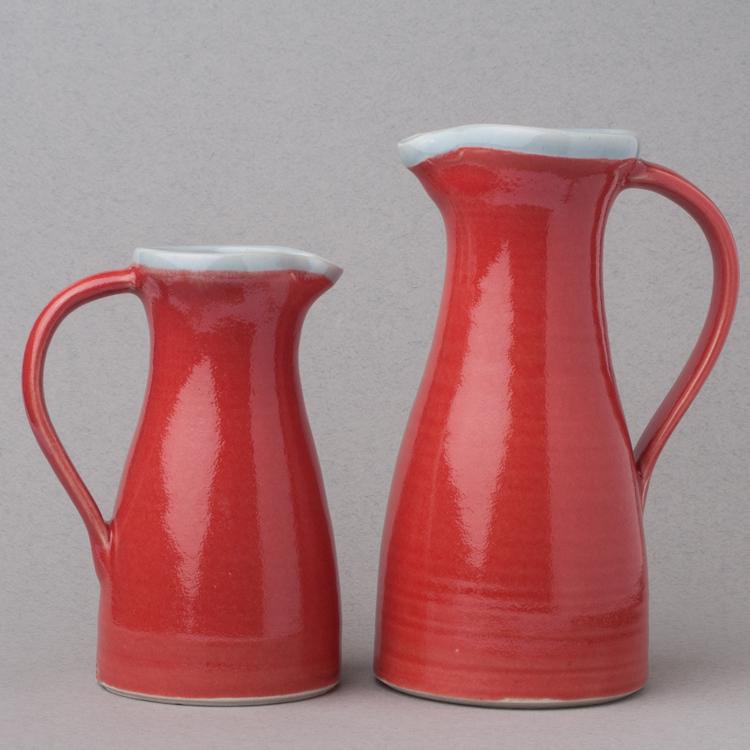 Topsy Jewell beautiful red ceramic jugs
