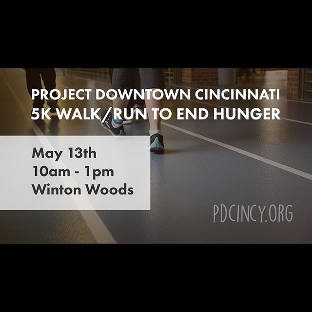 Mark your calendars y'all! Go register at http://www.pdcincy.org/pd5k.  #pdcincy#stophunger#otr#cincinnati#5krun#freetshirt#feedcincy#projectdowntown