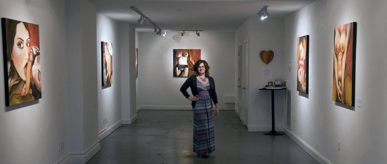 Tatiana von Tauberat Oglethorpe Gallery showcasing her risque ART PORN Collection.
