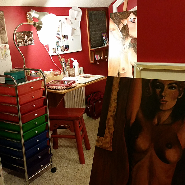 My home art studio with two of the Art Porn 2016 paintings so far.  Neither of them are finished - or full frame. ;)
