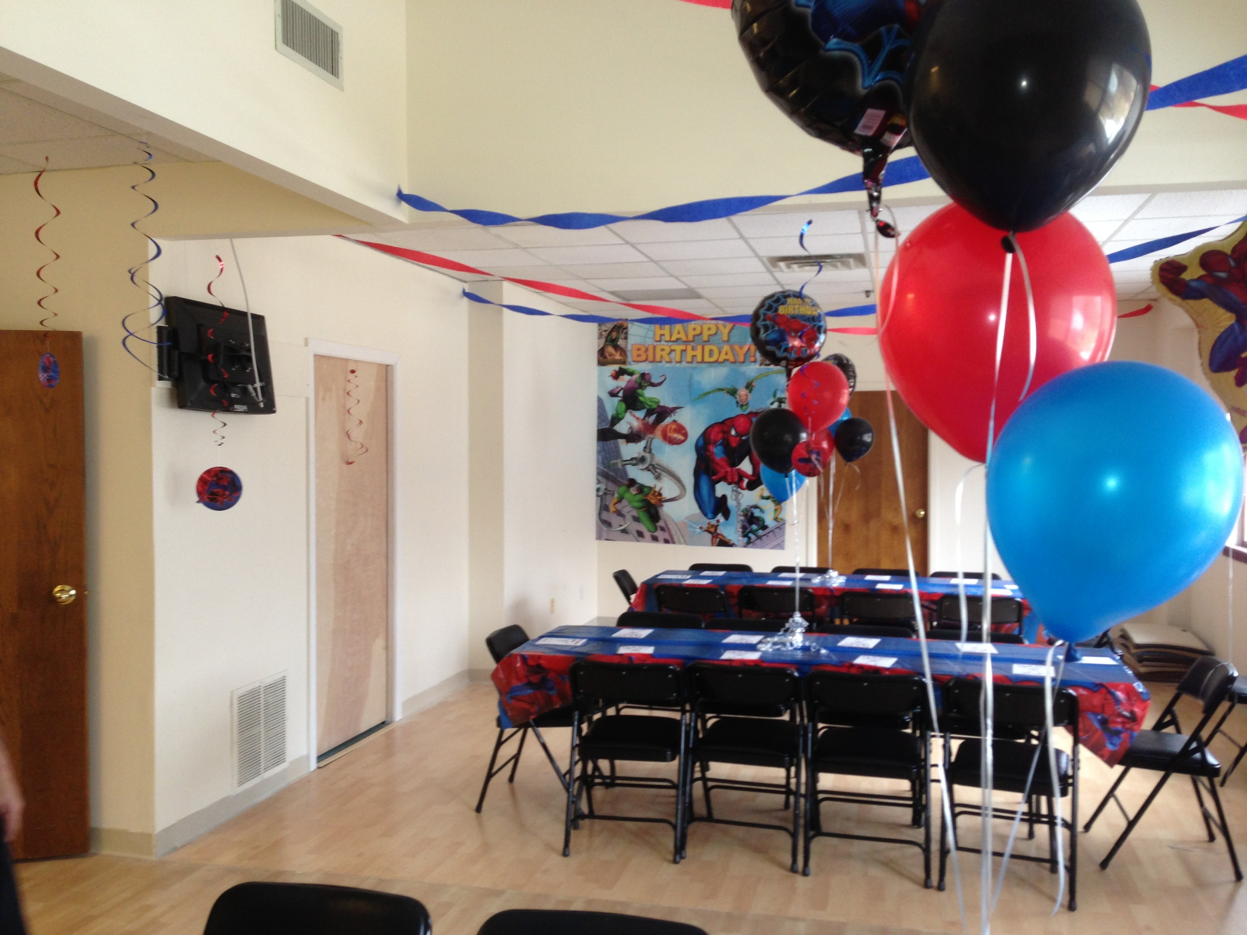 Our Cabaret Room decorated for a Spiderman Party.