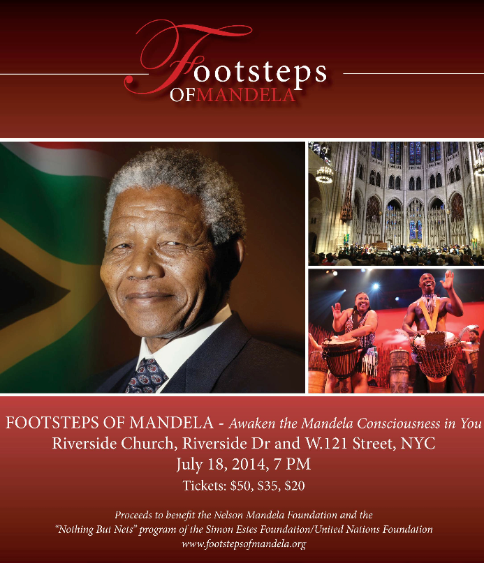 Carol and Ray participated in the  FOOTSTEPS OF MANDELA  concert on July 18, 2014, celebrating world peace, freedom and human dignity, Riverside Church, NYC.