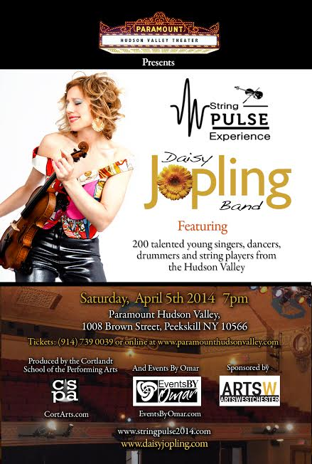 CSPA along with OJH productions produced The String Pulse Experience, featuring violinist Daisy Jopling and over 250 young musicians from the Hudson Valley!April 5, 2014