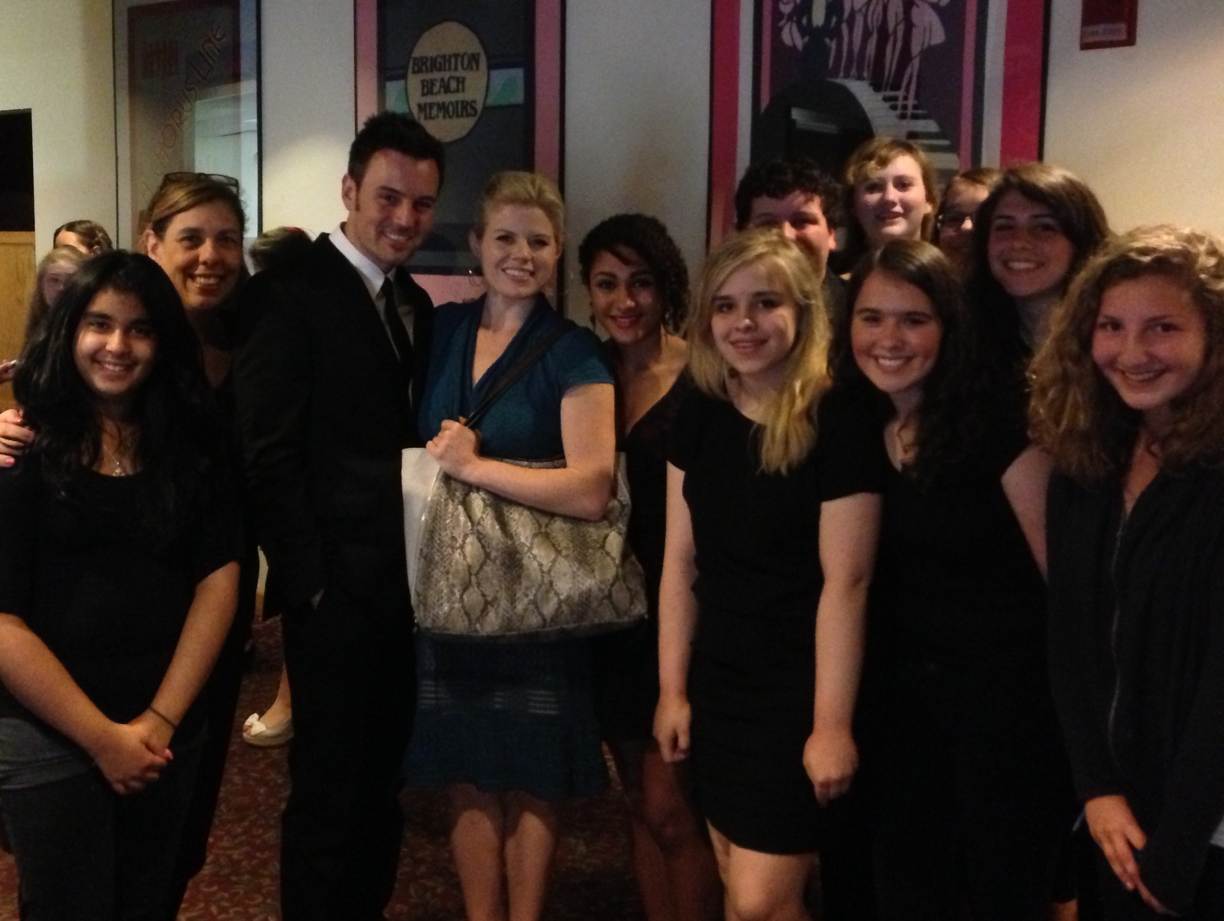 """CSPA singers at Westchester Broadways Theater after performing with Broadway star Brian Gallagher, and also, pictured here with his wife, star of """"Smash"""" , Megan Hilty."""