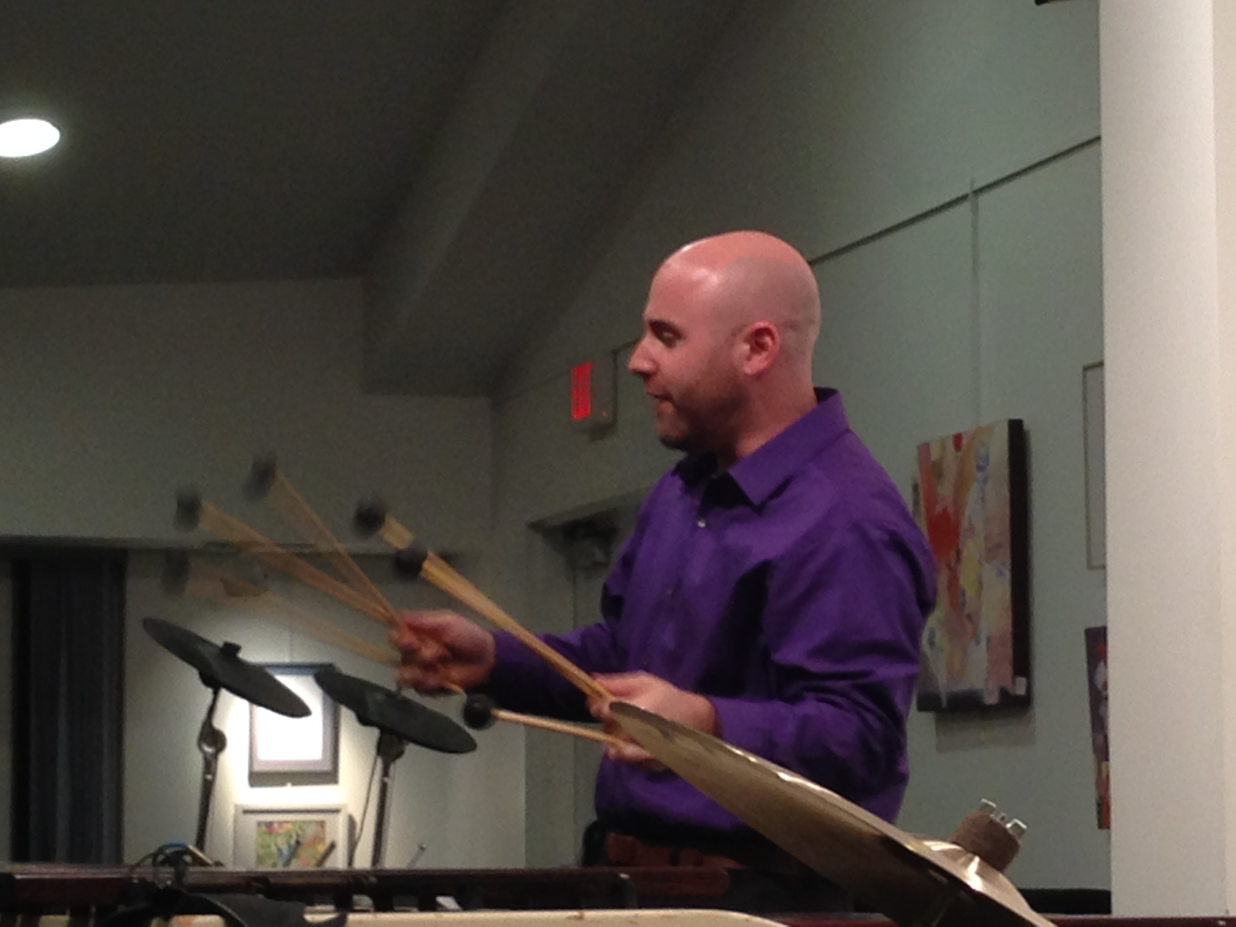 Percussion Teacher, Simon Boyar, performs a free concert for children at the Croton Library.